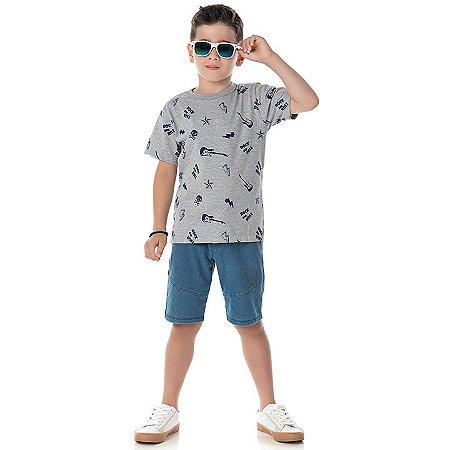 Camisa em meia malha cor mescla com estampa Rock and Roll