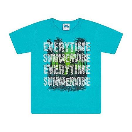 Camisa em meia malha cor azul piscina com puff