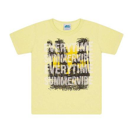 Camisa em meia malha cor verde limão com puff