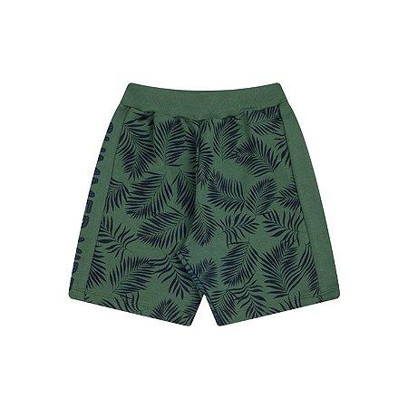 Bermuda moletinho cor verde floresta com estampa