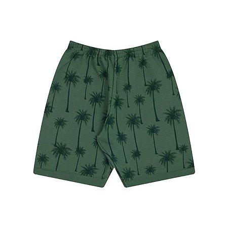 Bermuda moletinho cor verde floresta com estampa coqueiro