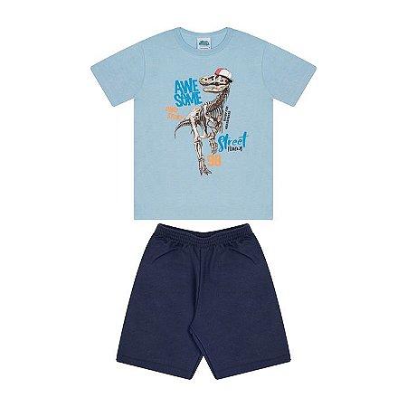 Conjunto em meia malha e moletinho cor azul bebê e marinho
