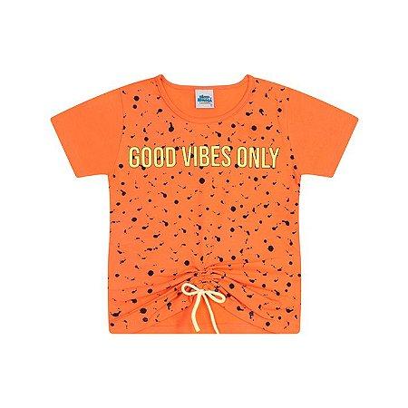 Blusa em cotton cor tangerine com cordão decorativo
