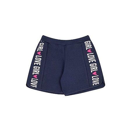 Shorts de moletinho cor marinho com estampa