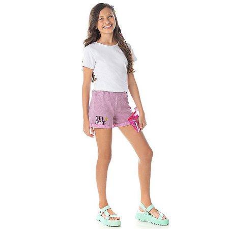 Shorts de moletinho flamê cor babaloo com estampa