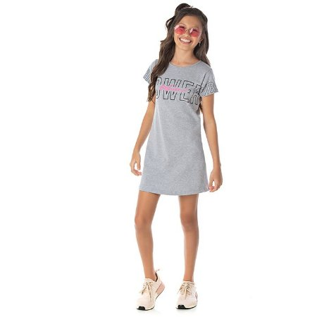 Vestido em cotton cor mescla com glitter na estampa