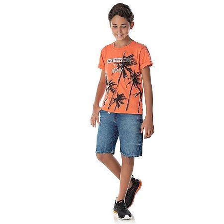 Camisa em meia malha cor tangerine