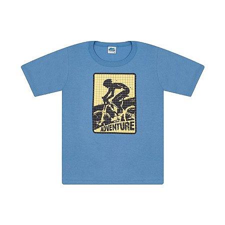 Camisa em meia malha cor azul pavão com puff na estampa