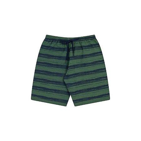 Bermuda moletinho cor verde floresta com estampa e cordão