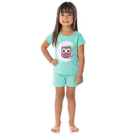 Pijama feminino meia malha que brilha no escuro cor verde claro