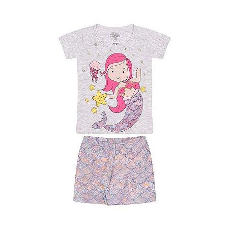 Pijama feminino meia malha que brilha no escuro cor mescla banana