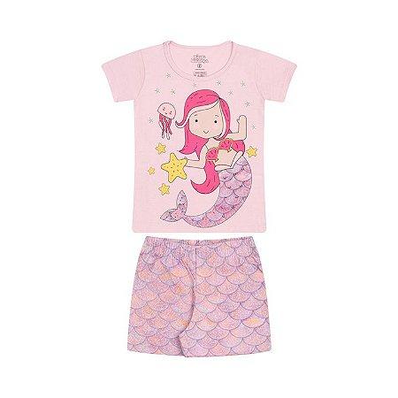 Pijama feminino em meia malha que brilha no escuro cor rosa bebê