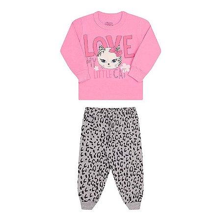 Pijama feminino manga longa brilha escuro cor babaloo e mescla