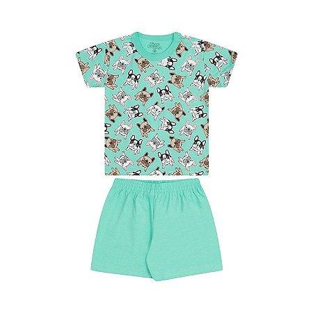 Pijama masculino meia malha que brilha no escuro cor verde claro