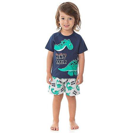 Pijama masculino meia malha brilha escuro marinho e mescla banana