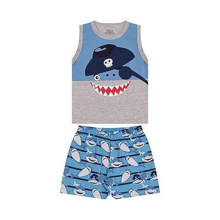 Pijama masculino meia malha brilha escuro cor mescla e azul pavão