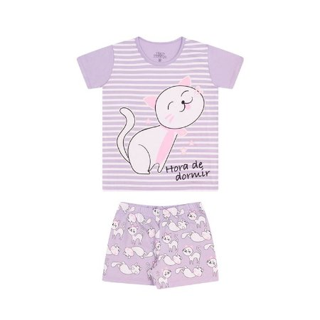 Pijama feminino em meia malha que brilha no escuro cor lavanda