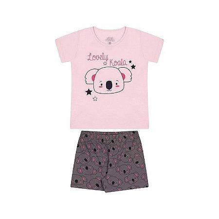 Pijama feminino meia malha brilha escuro rosa bebê e cinza escuro
