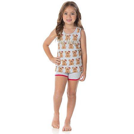 Pijama feminino meia malha que brilha escuro cor mescla banana