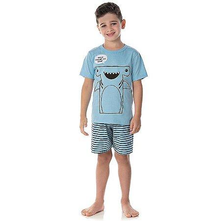 Pijama masculino em meia malha que brilha no escuro cor azul bebê