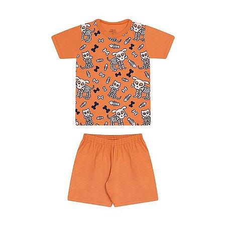 Pijama masculino meia malha brilha no escuro cor laranja queimado