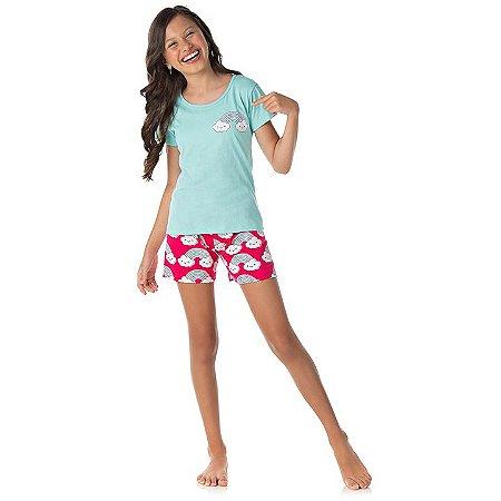 Pijama feminino meia malha brilha escuro cor verde água e pink