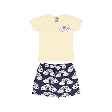 Pijama feminino meia malha brilha escuro amarelo claro e marinho