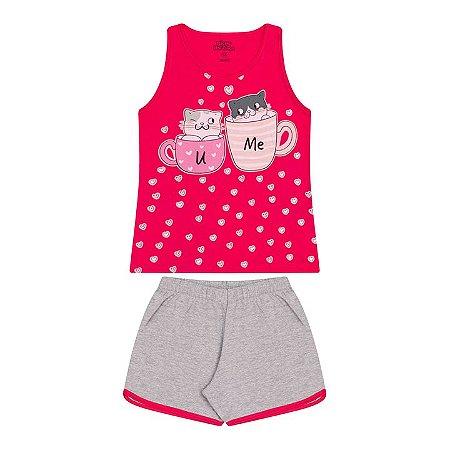 Pijama feminino meia malha que brilha no escuro cor pink e mescla