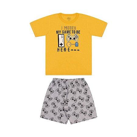 Pijama masculino meia malha brilha escuro amarelo pastel e mescla