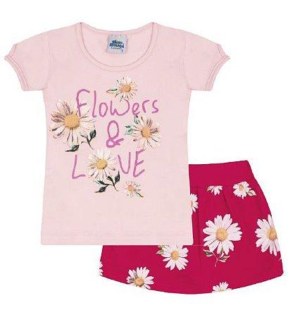 Conjunto Shorts-saia e Blusa nas cores rosa bebê e pink