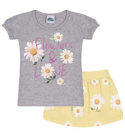 Conjunto Shorts-saia e Blusa nas cores cinza mescla e amarelo