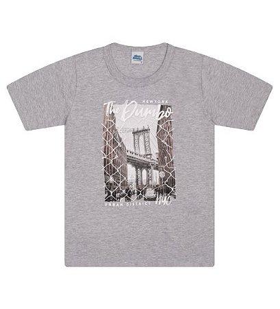 Camiseta Estampada na cor cinza mescla e gola redonda