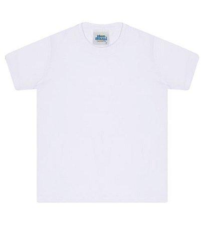 Camiseta básica cor branca, com manga e gola redonda