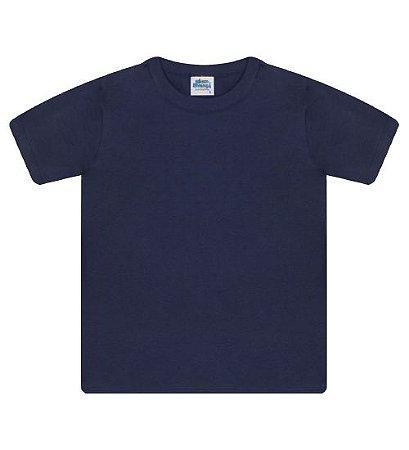 Camiseta básica cor azul marinho, com manga e gola redonda