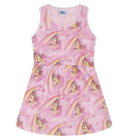 Vestido para meninas estampa unicórnio na cor rosa bebê