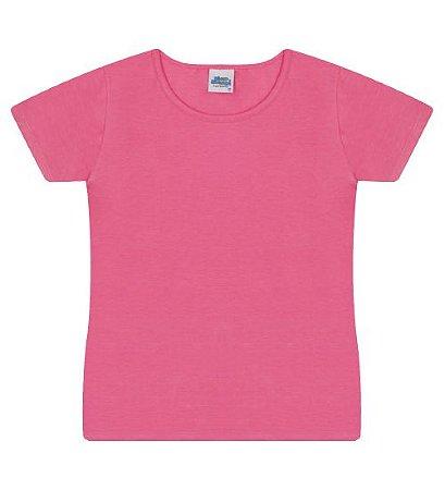 Blusa básica cor chiclete com manga e gola redonda