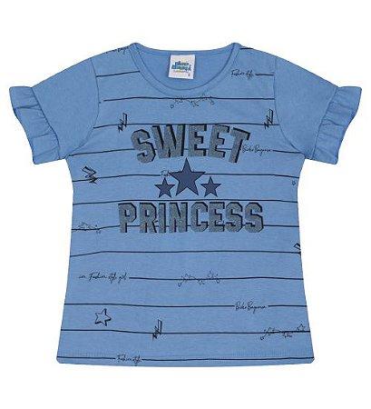 Blusa Estampada para meninas na cor azul pavão