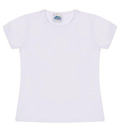 Blusa básica cor branca com manga e gola redonda