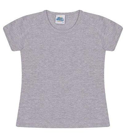 Blusa básica cor cinza mescla com manga e gola redonda