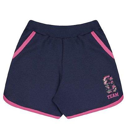 Shorts em moletinho para meninas na cor azul marinho