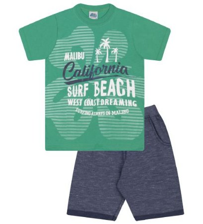 Conjunto Bermuda e Camiseta nas cores verde marine e azul marinho