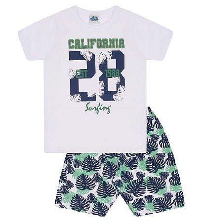 Conjunto Bermuda e Camiseta para meninos nas cores branco e verde