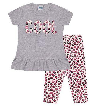 Conjunto Corsário e Blusa para meninas na cor cinza mescla
