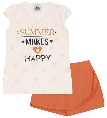 Conjunto Shorts-saia e Blusa nas cores algodão cru e tangerine