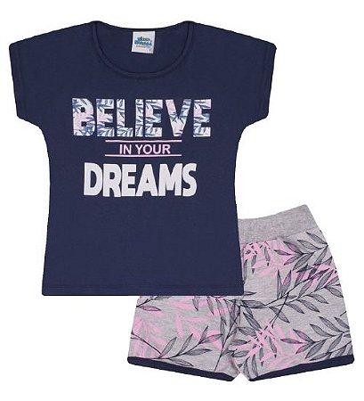 Conjunto Shorts e Blusa nas cores azul marinho e rosa