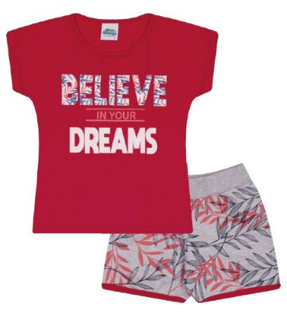 Conjunto Shorts e Blusa nas cores vermelho e coral