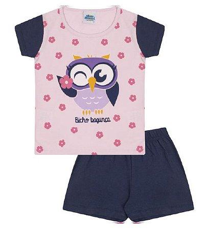 Pijama rosa bebê, estampa coruja, brilha no escuro