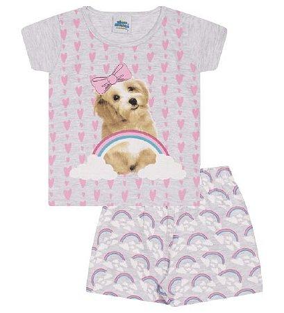 Pijama mescla banana, estampa cachorrinho, brilha no escuro
