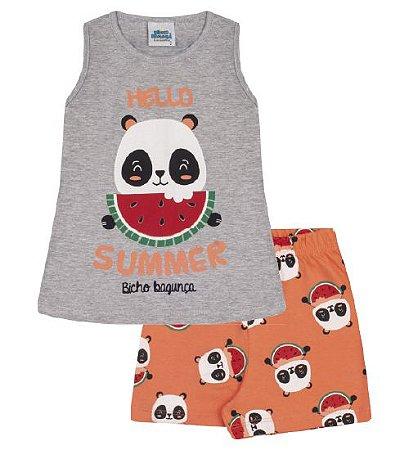 Pijama cinza mescla, estampa panda com melancia, brilha no escuro