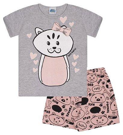 Pijama cor cinza mescla com estampa gatinha que brilha no escuro